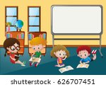 kids learning in classroom... | Shutterstock .eps vector #626707451