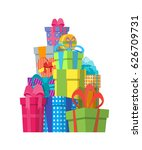 cartoon color gift boxes pile... | Shutterstock .eps vector #626709731