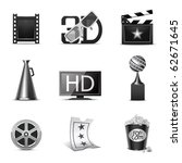 movie icons   b w series | Shutterstock .eps vector #62671645
