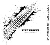 tire track impression on white... | Shutterstock .eps vector #626722277