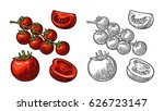 set of hand drawn tomatoes... | Shutterstock .eps vector #626723147