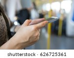 asian woman using phone for... | Shutterstock . vector #626725361