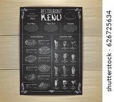 chalk drawing restaurant menu... | Shutterstock .eps vector #626725634