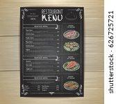 chalk drawing restaurant menu... | Shutterstock .eps vector #626725721