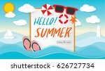 Summer Beach Party Design with template on ocean landscape background. Flat vector web banner on the theme of travel - stock vector