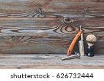 vintage barber shop tools on... | Shutterstock . vector #626732444