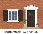brick house exterior with porch ... | Shutterstock .eps vector #626734637