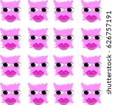 pattern with cute pink monsters.... | Shutterstock .eps vector #626757191