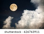 full moon on night sky | Shutterstock . vector #626763911