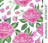 seamless floral pattern with... | Shutterstock . vector #626766137