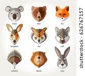 animals set icon head muzzles... | Shutterstock .eps vector #626767157