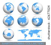 collection of earth globes end... | Shutterstock . vector #62677024