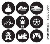 toys icons set. white on a...