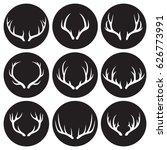 horns icons set. white on a... | Shutterstock .eps vector #626773991