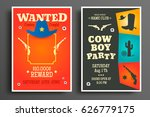 wanted western poster and... | Shutterstock .eps vector #626779175