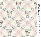 seamless pattern with hipster... | Shutterstock .eps vector #626779349