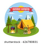 summer camp. landscape with... | Shutterstock .eps vector #626780831
