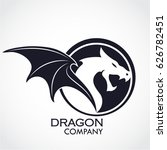 winged dragon circle shape logo | Shutterstock .eps vector #626782451