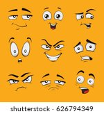 Set Of Funny Cartoon Faces Wit...