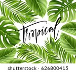 summer poster with tropical... | Shutterstock .eps vector #626800415