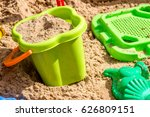 pail  sieve and molds in the... | Shutterstock . vector #626809151
