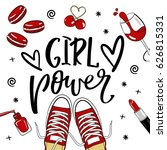 fashion patches set.girl power... | Shutterstock .eps vector #626815331