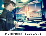 double exposure of  engineer or ... | Shutterstock . vector #626817371