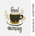 stylish illustration with cup... | Shutterstock .eps vector #626817389