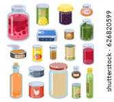 collection of various tins... | Shutterstock .eps vector #626820599