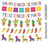 cinco de mayo vector party... | Shutterstock .eps vector #626828885