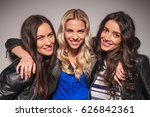 three laughing young women in... | Shutterstock . vector #626842361