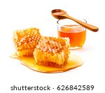 honeycomb with jar and honey... | Shutterstock . vector #626842589
