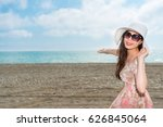young beautiful girl gesturing... | Shutterstock . vector #626845064