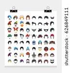 hair  beard  hat sunglasses... | Shutterstock .eps vector #626849111