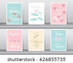 set of happy mother's day card... | Shutterstock .eps vector #626855735
