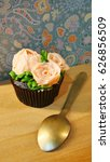 rose cupcakes  decorate... | Shutterstock . vector #626856509