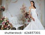 model posing in a beautiful... | Shutterstock . vector #626857301