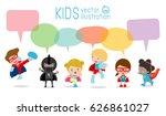 cute superhero kids with speech ... | Shutterstock .eps vector #626861027
