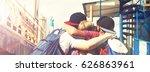 happy friends hug. happy... | Shutterstock . vector #626863961
