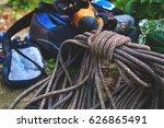 climbing equipment on the... | Shutterstock . vector #626865491