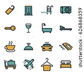 vector flat hotel icons set on... | Shutterstock .eps vector #626868359