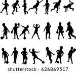 boy active silhouette vector | Shutterstock .eps vector #626869517