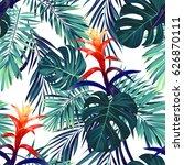 hand drawn seamless floral... | Shutterstock . vector #626870111