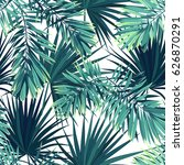 tropical background with jungle ... | Shutterstock . vector #626870291