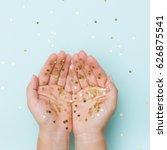 top view on woman's hands... | Shutterstock . vector #626875541