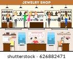 jewelry store interior set....   Shutterstock .eps vector #626882471