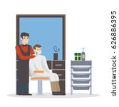 man at barbershop. hairdresser... | Shutterstock .eps vector #626886395