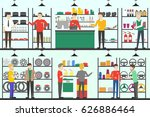 car parts store set. people in... | Shutterstock .eps vector #626886464