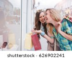 shopping time. happy women with