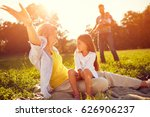 mother with daughter enjoy on... | Shutterstock . vector #626906237